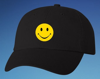 39655f0d82b3b6 Smiley Face Embroidered Dad Hat, Smiley Face Dad Hat, Smiley Face  Embroidered Baseball Hat
