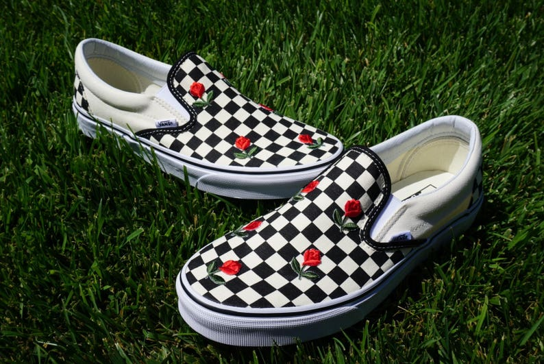 f9eaf37aa8c5 Checkered Slip On Vans Mini Rose Embroidery Shoes