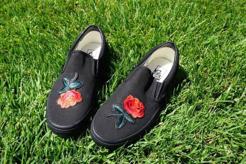 51f3f065249f Black Black Slip On Vans Rose Embroidery Shoes