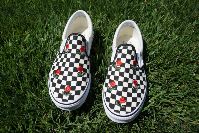 740e871fa57b Checkered Slip On Vans Mini Rose Embroidery Shoes