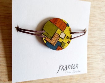 Geometric squares bracelet with inlaid wood