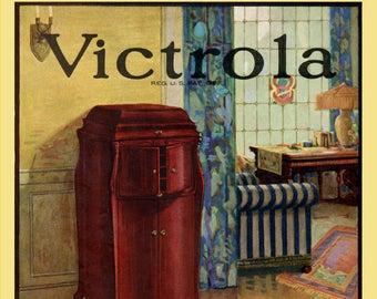 Reproduced vintage Victor Victrola Talking Machine Canvas Print