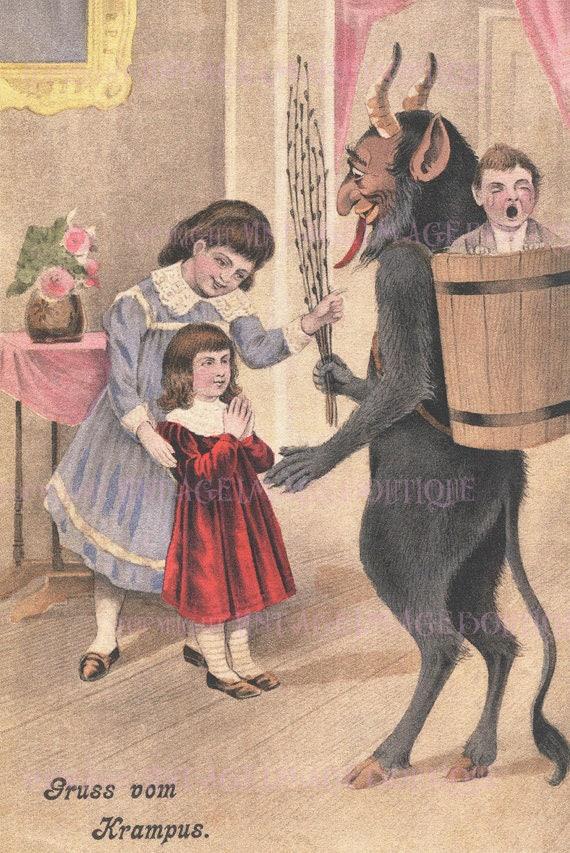 Antique 1920\u0027s Illustration Krampus With Three Children Christmas Season  Krampuskarten Pagan Winter Solstice Holiday 5x7 Greeting Card