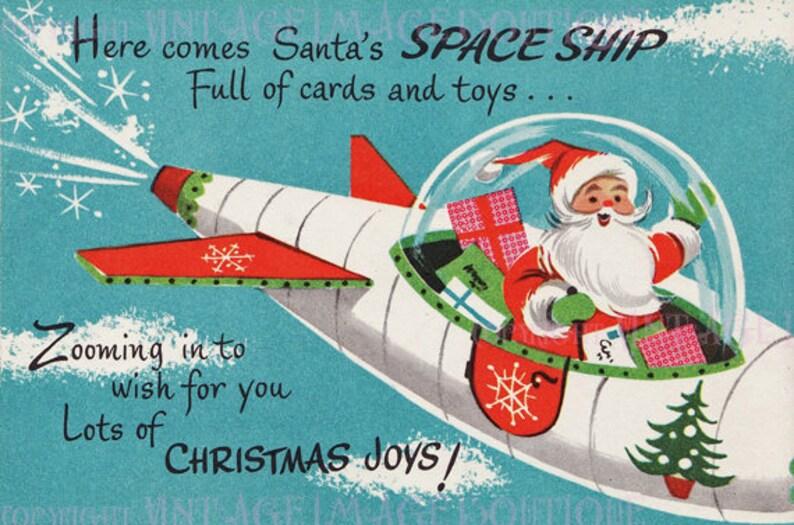 Auguri Di Natale Anni 50.Favolosi Anni 50 Illustrazione Kitsch Di Babbo Natale Babbo Natale In Un Biglietto Di Auguri Di Razzo Stagionale Solstizio D Inverno Vacanza 5 X 7