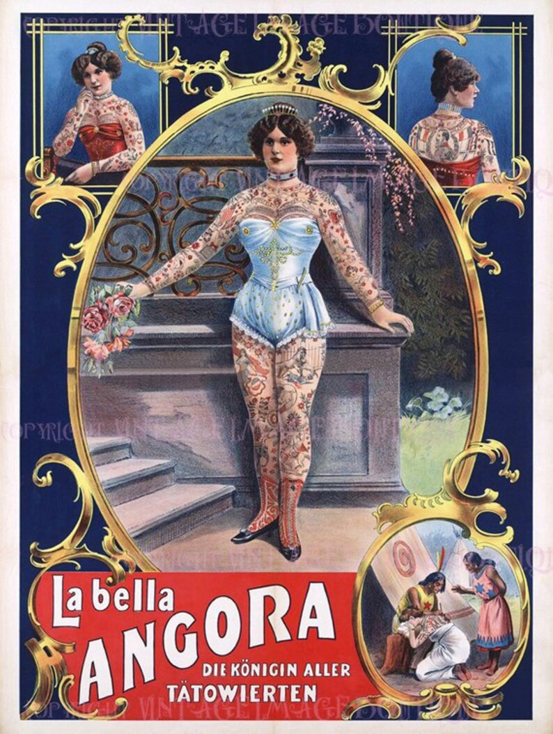 Lovely Antique Victorian Amusement, La Bella Angora The Tattooed Lady Side  Show Circus Music Hall Entertainment 5x7 Greeting Card
