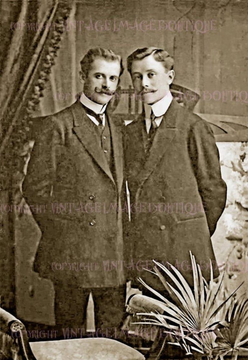 Lovely Antique Gay Couple Wedding Civil Partnership Wedding 5x7 Greeting Card