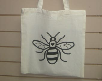 Manchester Bee Shopping Bag for Life NATURAL 100% Cotton Black Bee Heart