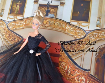 Barbie Ooak with tulle dress and black Blonda Exclusive collection of dolls with Alma