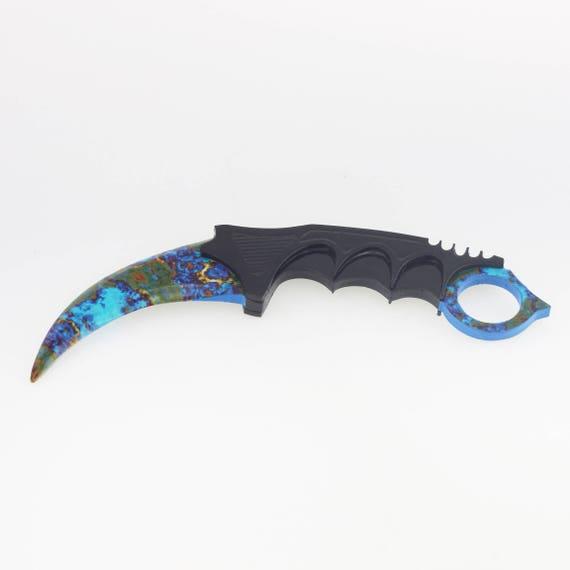 csgo replica case hardened cs karambit knife counter strike etsy