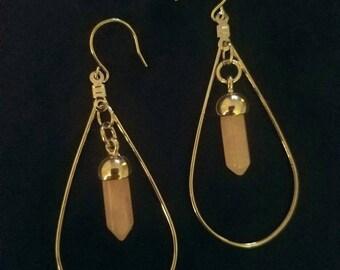 Silver teardrop hoops with rose quartz healing stones