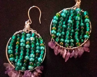 Amethyst, turquoise beaded earrings