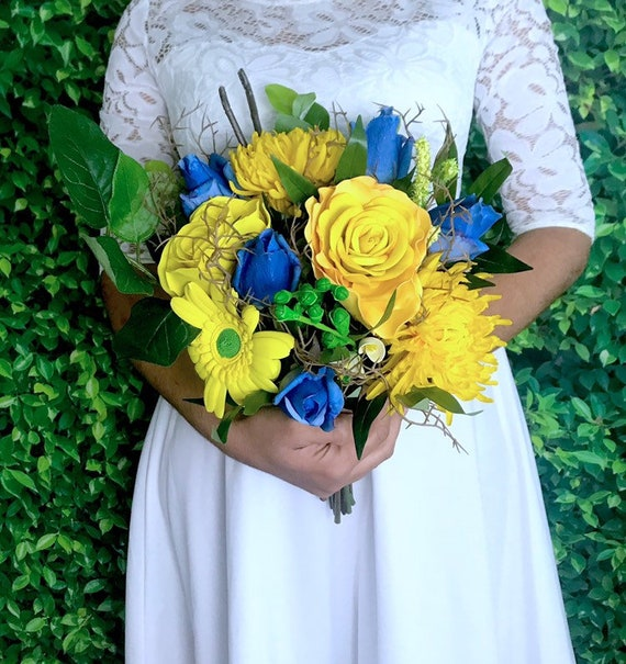 Rustic Wedding Bouquet For The Bridal Yellow And Hot Blue Etsy