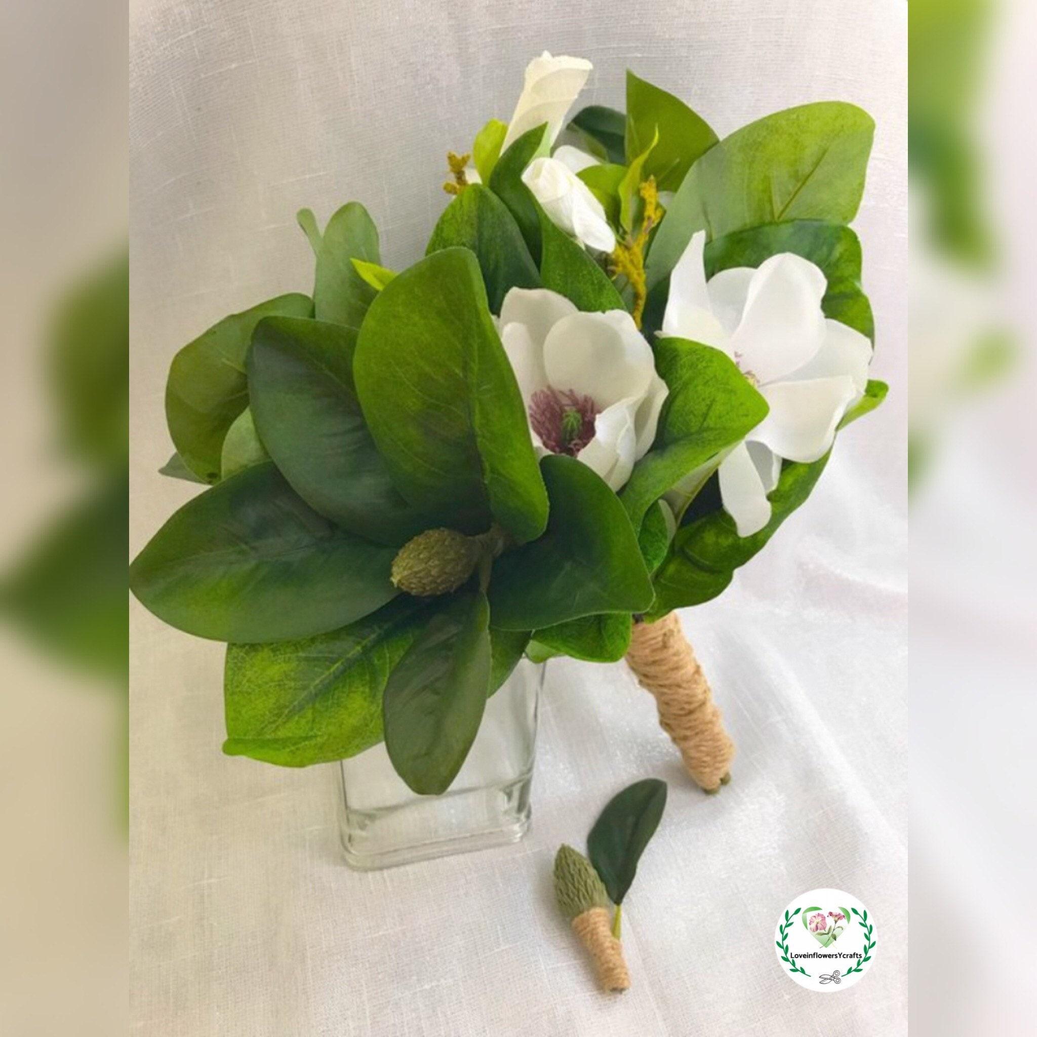 bridal bouquet boho bouquet magnolia silk magnolia bouquet ramo magnolia  ramo boho bouquet for wedding wedding flower boda magnolia white