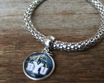 Brigham Young Bracelet BYU Cougars charm Utah fan Brigham Young University bracelet football stretch bracelet bangle bracelet