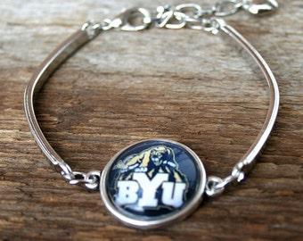 BYU Bracelet Cougars charm Utah fan Brigham Young University bracelet clasp football  bracelet bangle bracelet Brigham Young Jewelry