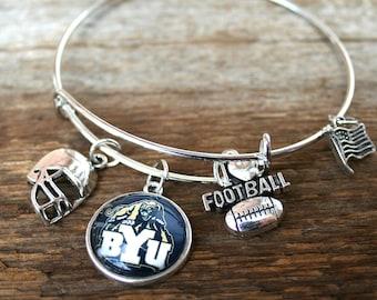 BYU Bracelet Brigham Young University Cougars charm clasp Utah fan Brigham Young University bracelet football cuff bracelet bangle bracelet