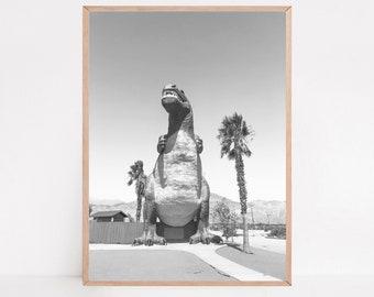 Dino Decor, Cabazon Dinosaurs, T-Rex, Nursery Prints, Nursery Decor, Dinosaur Print, Black and White Photography
