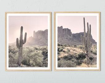 Set of 2 Wall Art, Superstition Mountains, Boho Art Prints, Cactus Prints