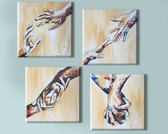 holding hands art acrylic painting on canvas original couple in love wall art friendship art, relationship gifts set canvas palette knife