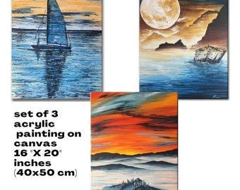 acrylic painting set of 3 paintings on canvas original moonlit landscape wall art set of 3 boat art Sailboat ship painting palette knife