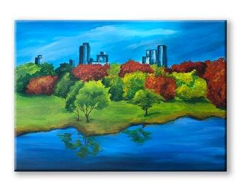 Central Park painting on canvas, New York NY Central Park art Famous Places Art acrylic wall art painting Cityscape Skyline New York art
