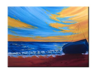 boat landscape oil painting original coastal wall art canvas, sailboat art seascape in oil sunset beach painting living room wall decor blue