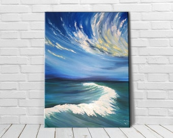 beach painting canvas wall art nature, oil painting original large ocean surf in sunset time, amazing waves, big wave breaking on the beach
