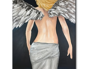 angel painting canvas, angel wings wall art large, Guardian Angel art silver painting original canvas home decor textured painting spiritual