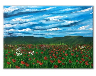 mountain wall art landscape canvasTuscany painting landscape Red Poppies poppy field painting acrylic painting original Living Room Decor