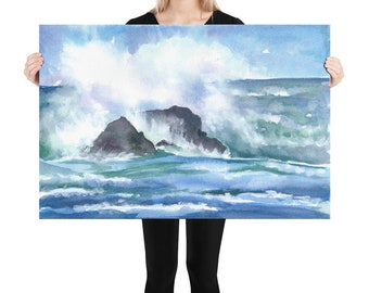 waves print framed ocean print wall art poster art horizontal wave painting large sea watercolor painting prints art decor giclee paintings