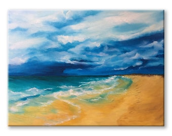 beach landscape oil painting original sea large ocean canvas living room art, home decor beach scene, nature art coastal painting nautical
