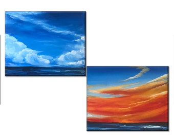 ocean wall art painting, acrylic painting on canvas original, landscape art small, seascape paintings, blue sea, 8x10 painting canvas art