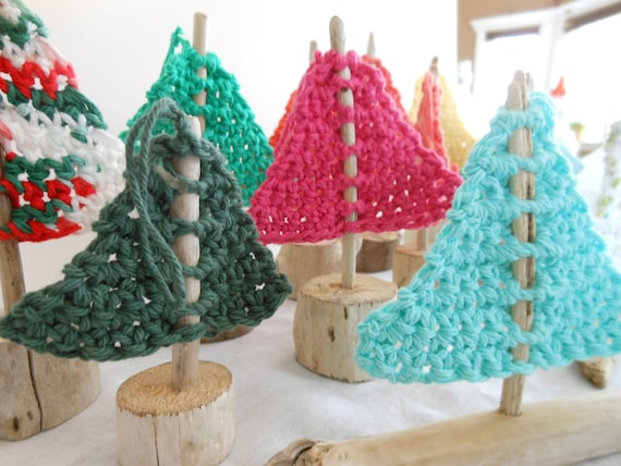 Driftwood Sailboat Ornaments - Mini Crocheted Sails on Driftwood - Freestanding or Hanging Beach Decor Ornaments - Mobile Accessory Parts