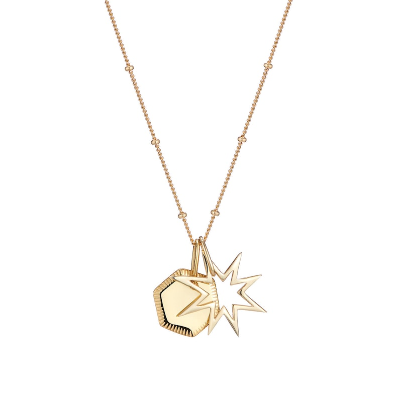 f36b202a01e31 Star pendant charm and engraved geometric gold disc pendant necklace on  satellite chain available in sterling silver gold or rose gold