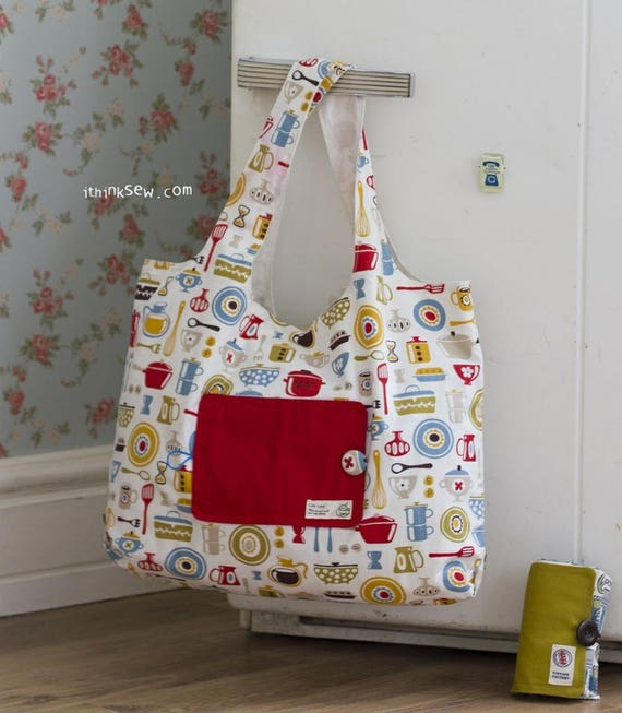 Eco Friendly Portable Shopping Bag Pdf Sewing Pattern 196 Etsy