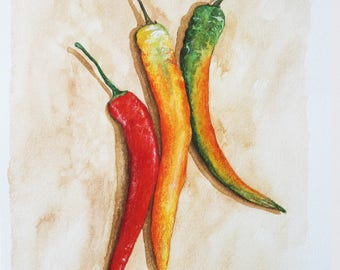 Original watercolour painting, 'Chillies', original art, vegetables, food, kitchen, red chilli illustration