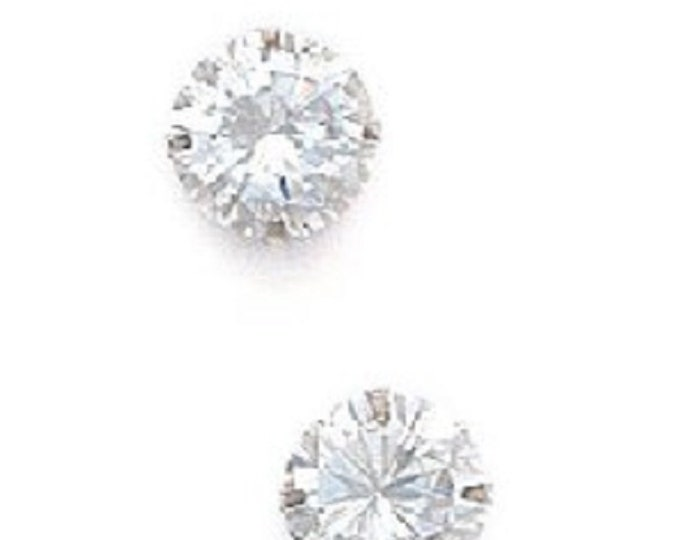 320680291 Featured listing image: Classic Circle Round Brilliant Cut Cubic Zirconia  Solitaire Stud Earrings, Solid
