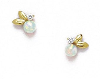 a2202b0f3 Elegant Floral Studs, White Opal and Round-Cut Cubic Zirconia, Solid 14K  Yellow Gold