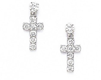 914ff0218 Elegant Hanging Cross Stud Earrings, Round-Cut Cubic Zirconia, Screw Back,  Solid 14K Yellow or White Gold, XXmm