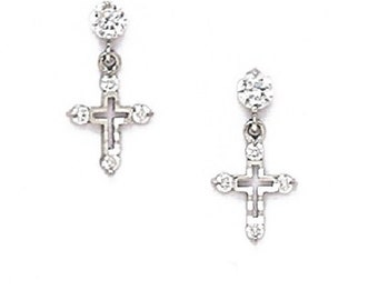5cba53648 Elegant Hanging Cross Stud Earrings, Round-Cut Cubic Zirconia, Screw Back,  Solid 14K Yellow or White Gold