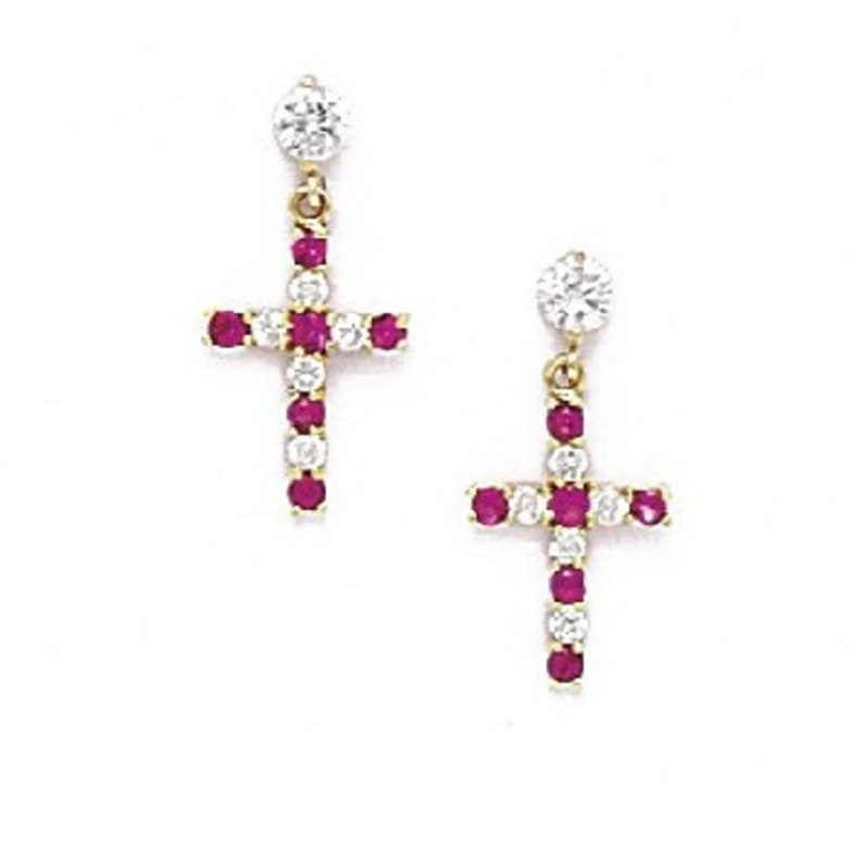 dead4d2f8 Elegant Hanging Cross Stud Earrings Round-Cut Cubic Zirconia | Etsy