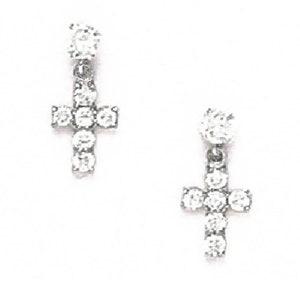 Elegant Hanging Cross Stud Earrings Round-Cut Cubic Zirconia Screw Back XXmm Solid 14K Yellow or White Gold