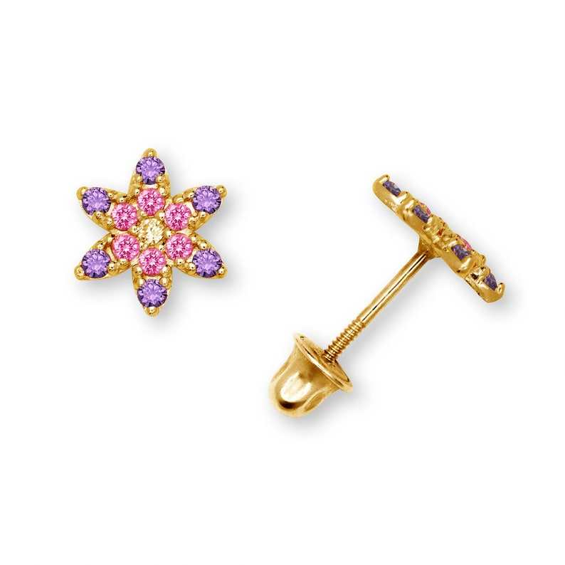 Elaborate 14K Flower Stud Earrings with Screwback and Cubic Zirconia Yellow and White Gold