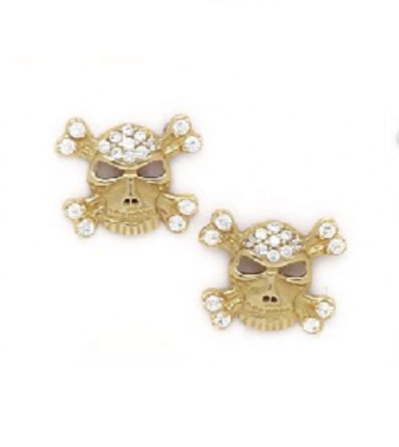 Classic Solid 14K Gold Skull Stud Earrings with Round Cut Cubic Zirconia