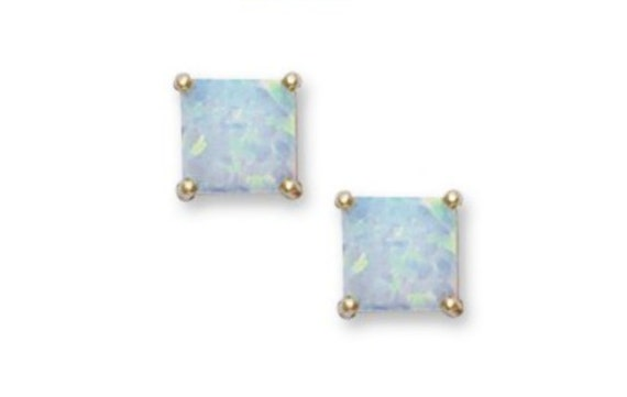 Square 4x4mm Aqua Blue CZ Gold Plated Sterling Silver Stud Earrings