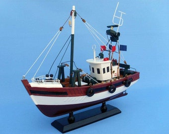 Wooden Stars and Stripes Model Fishing Boat 14""