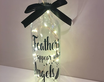 Feathers appear when angels are near light up wine bottle memorial remembrance keepsake