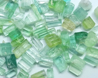 62 Carats Light Blue & Green Tourmaline Transparent Crystals from Afghanistan
