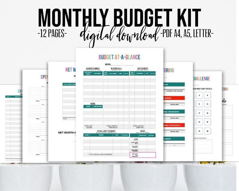 image regarding Month at a Glance Budget identified as Month to month Spending plan Package 12 web pages Finance Planner, Price range Template, Fiscal Worksheet, Price savings Chart, Investing Tracker, Personal debt Planner