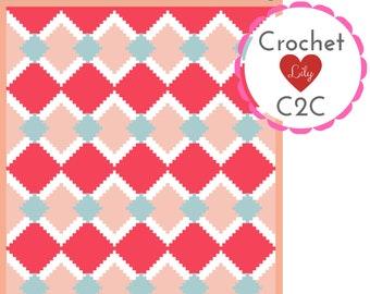 Diamonds blanket C2C Crochet Pattern Blanket Crochet Graph | Etsy